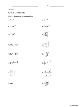 Review-Exponents Worksheet