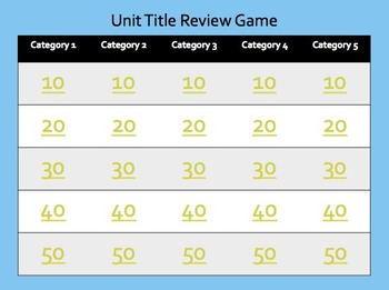 Review Game - TEMPLATE