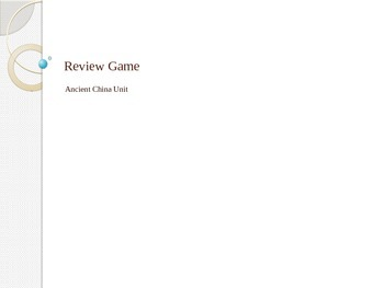 Review Game on Ancient China