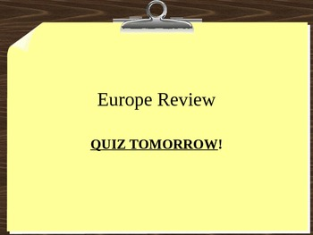 Review Game on European History and Geography
