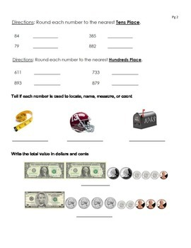 Review Packet: Place Value,  Number Form, Money, Rounding,