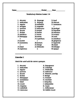 Review Packet for Vocabulary 1-4