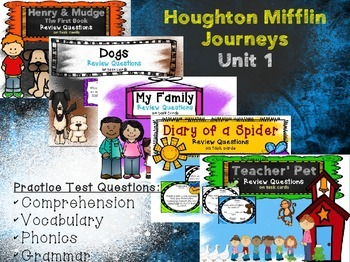 Review Question Task Cards for Houghton Mifflin Journeys Unit 1