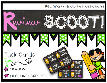 Review Scoot - Beginning of the Year - Chalkboard Themed