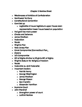 Review Sheet on Articles of Confederation and Constitution