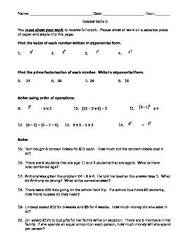 Review Skills 5 order of operations, prime factorization,