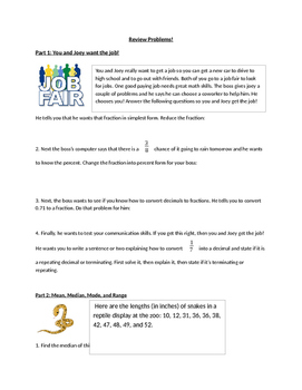 Review Worksheet fractions probability decimals and other