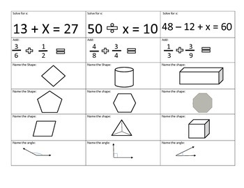 Review mixed math cards