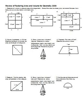 Review of Factoring Area and Volume for Geometry 2009