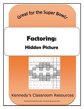 Review of Factoring - Hidden Picture (Great for the Super Bowl!)