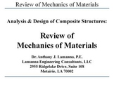 Review of Mechanics of Materials