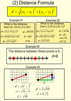 Review of slope, distance formula, degree & midpoint on Po