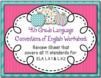 Review page to cover all 11 CCSS ELA standards for L.4.1 a