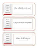 Revised Blooms Taxonomy Ladders: Non-Fiction Question Stems