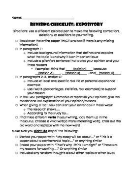 Revising Checklist Expository