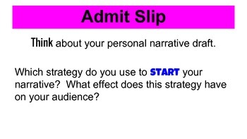 Revising Introductions in a Personal Narrative