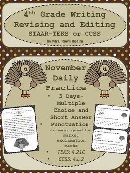"""STAAR-Revising and Editing Daily Practice-November """"Pass t"""