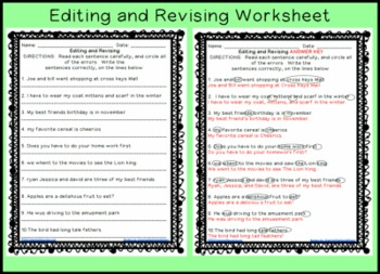 Printables Third Grade Editing Worksheets revising and editing sentences printable worksheet by workaholic worksheet