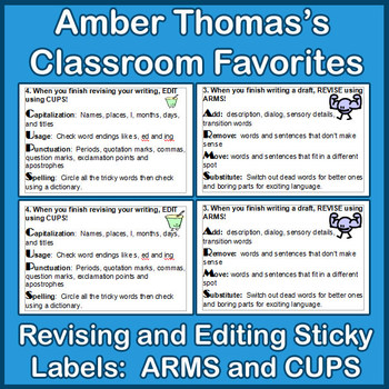 Revising and Editing Sticky Labels:  ARMS and CUPS {FREE}