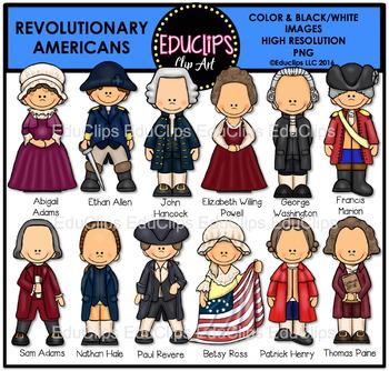 Revolutionary Americans Clip Art Bundle {Educlips Clipart}