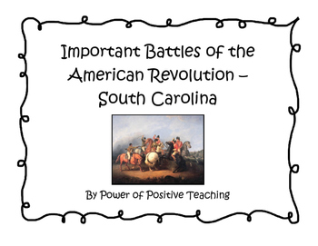 Revolutionary War Battles in South Carolina Graphic Organizer
