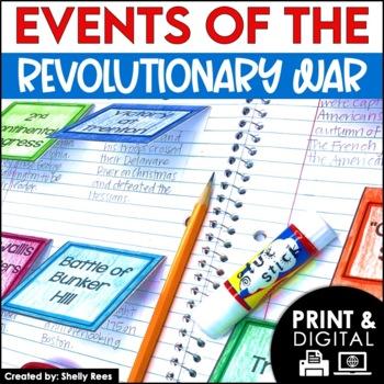 Revolutionary War - Interactive Notebook, Mini Book,  & Timeline