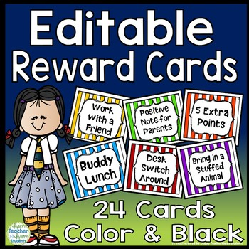 Reward Cards - Editable - 24 Reward Coupons in Color and Black