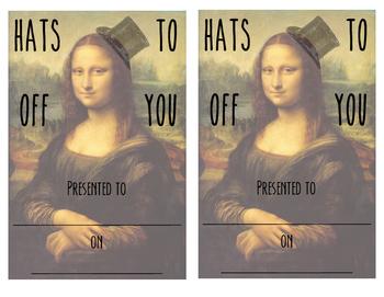 Reward Certificate, Hats Off, Center Pass, Mona Lisa