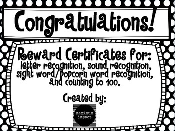 Reward Certificates: Kindergarten