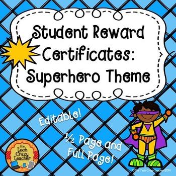 Reward Certificates for Students: Superhero Theme (Editable)
