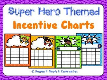 Reward Charts - Super Hero Themed