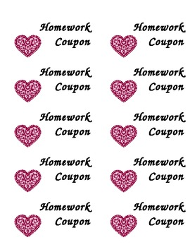 Valentine's Day No Homework Coupons