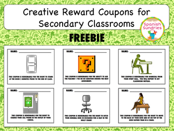 Reward Coupons for Secondary Classrooms