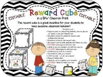 Reward Cube (EDITABLE) in a B/W Chevron Print