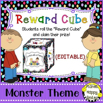 Reward Cube (EDITABLE) in a Monster Theme with Multi Color