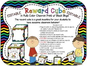 Reward Cube (EDITABLE) in a Multi Colored Chevron Print wi