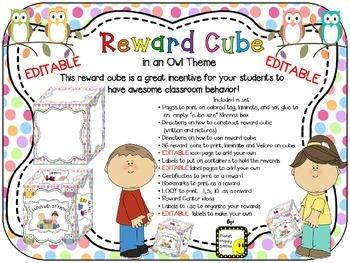 Reward Cube (EDITABLE) in an Owl Theme