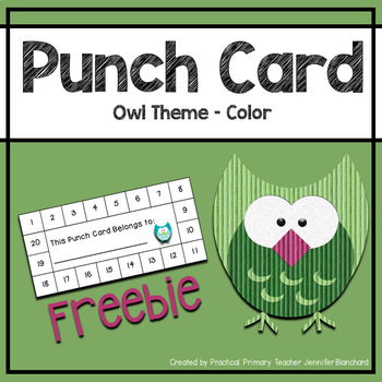 Reward Punch Card - Owl Theme Color