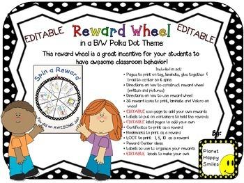 Reward Wheel (EDITABLE) in a B/W Polka Dot Print