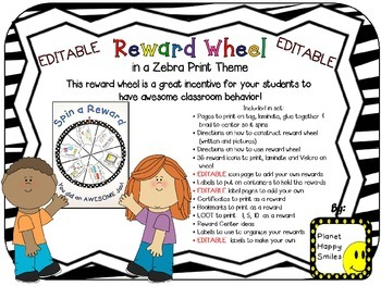 Reward Wheel (EDITABLE) in a Zebra Print