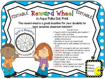 Reward Wheel (EDITABLE) in an Aqua Polka Dot Print