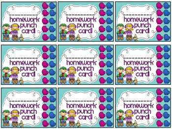 Reward/Homework punch cards: Winter-themed