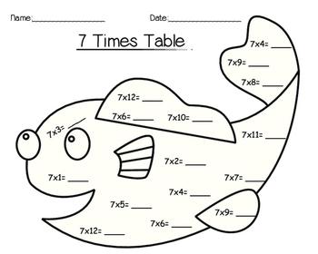 7 Times Table Worksheet