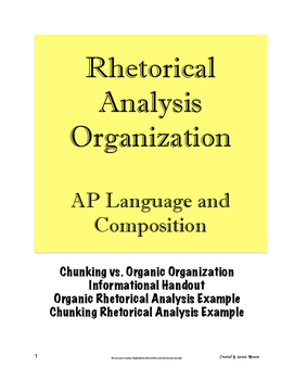 Rhetorical Analysis Essay Organization