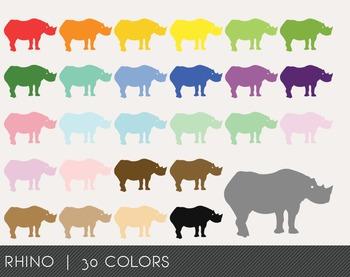 Rhino Digital Clipart, Rhino Graphics, Rhino PNG, Rainbow