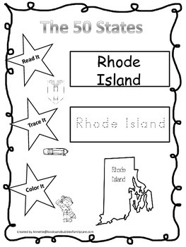 Rhode Island Read it, Trace it, Color it Learn the States