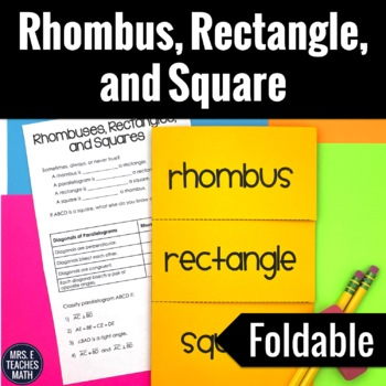 Rhombus, Rectangle, and Square Foldable