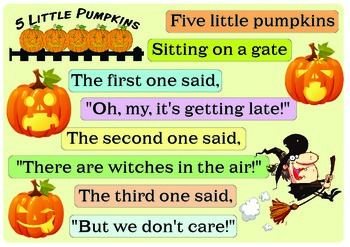 "Rhyme ""Five little pumpkins"""