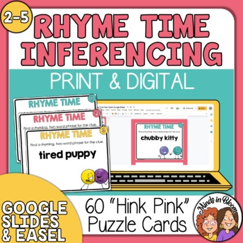 """""""Rhyme Time"""" Task Cards: 60 Hink Pink Puzzles for Fun Voca"""