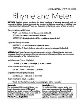 Rhyme and Meter Handout